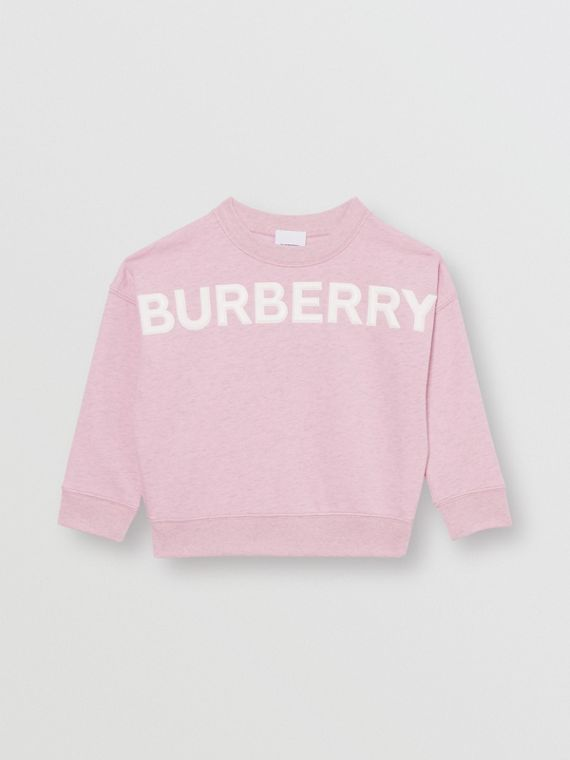 Logo Detail Cotton Sweatshirt in Pale Neon Pink