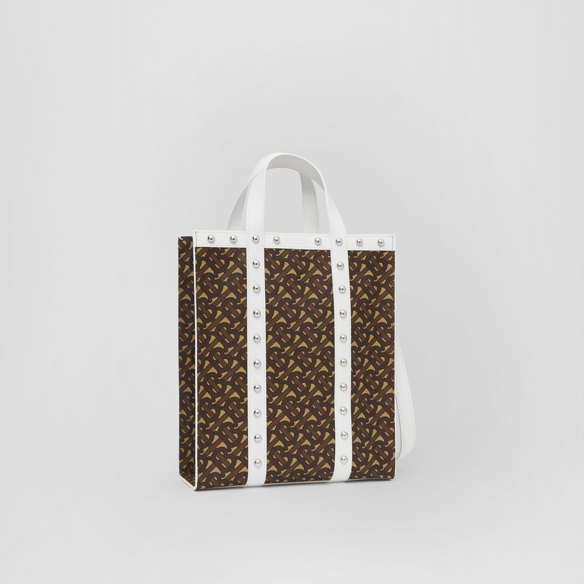 Small Monogram Print E-canvas Portrait Tote Bag in White - Women | Burberry Hong Kong S.A.R - gallery image 4