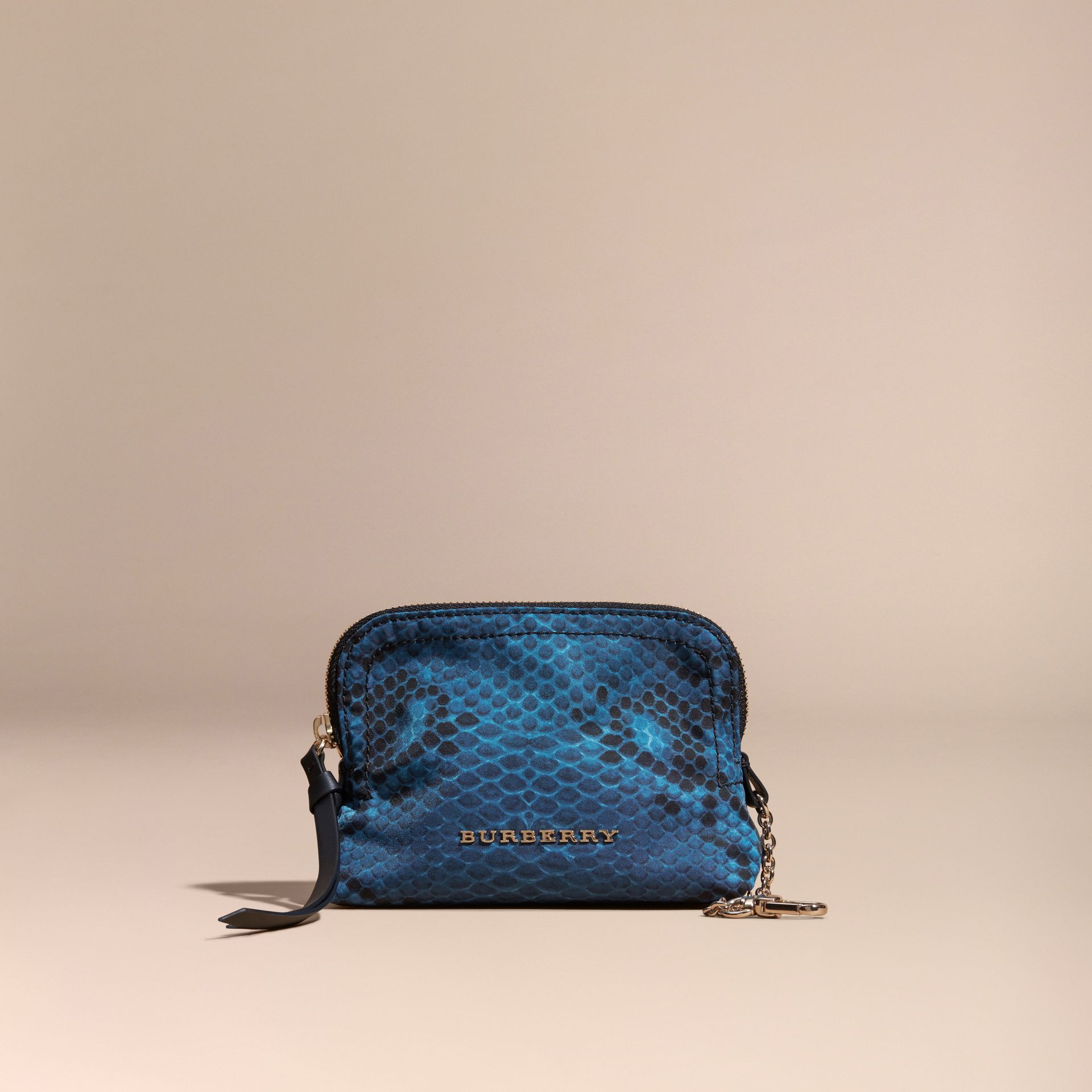 Mineral blue Small Zip-top Python-print Technical Nylon Pouch Mineral Blue - gallery image 6