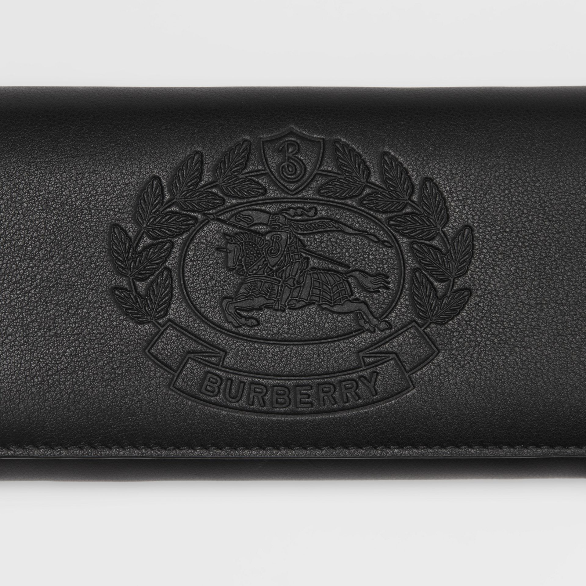 Embossed Crest Two-tone Leather Continental Wallet in Black - Women | Burberry United States - gallery image 1