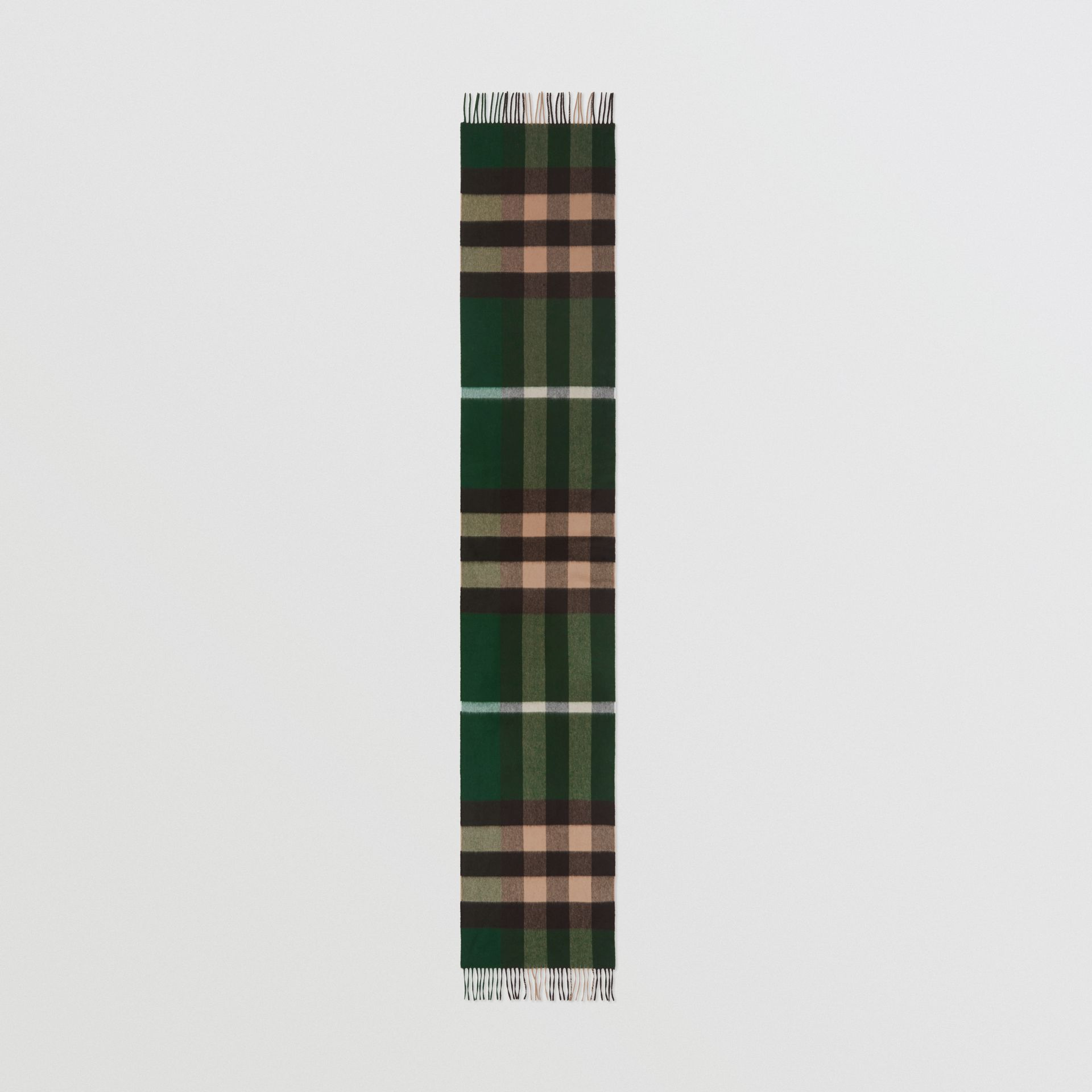 Check Cashmere Scarf in Dark Pine Green | Burberry - gallery image 4