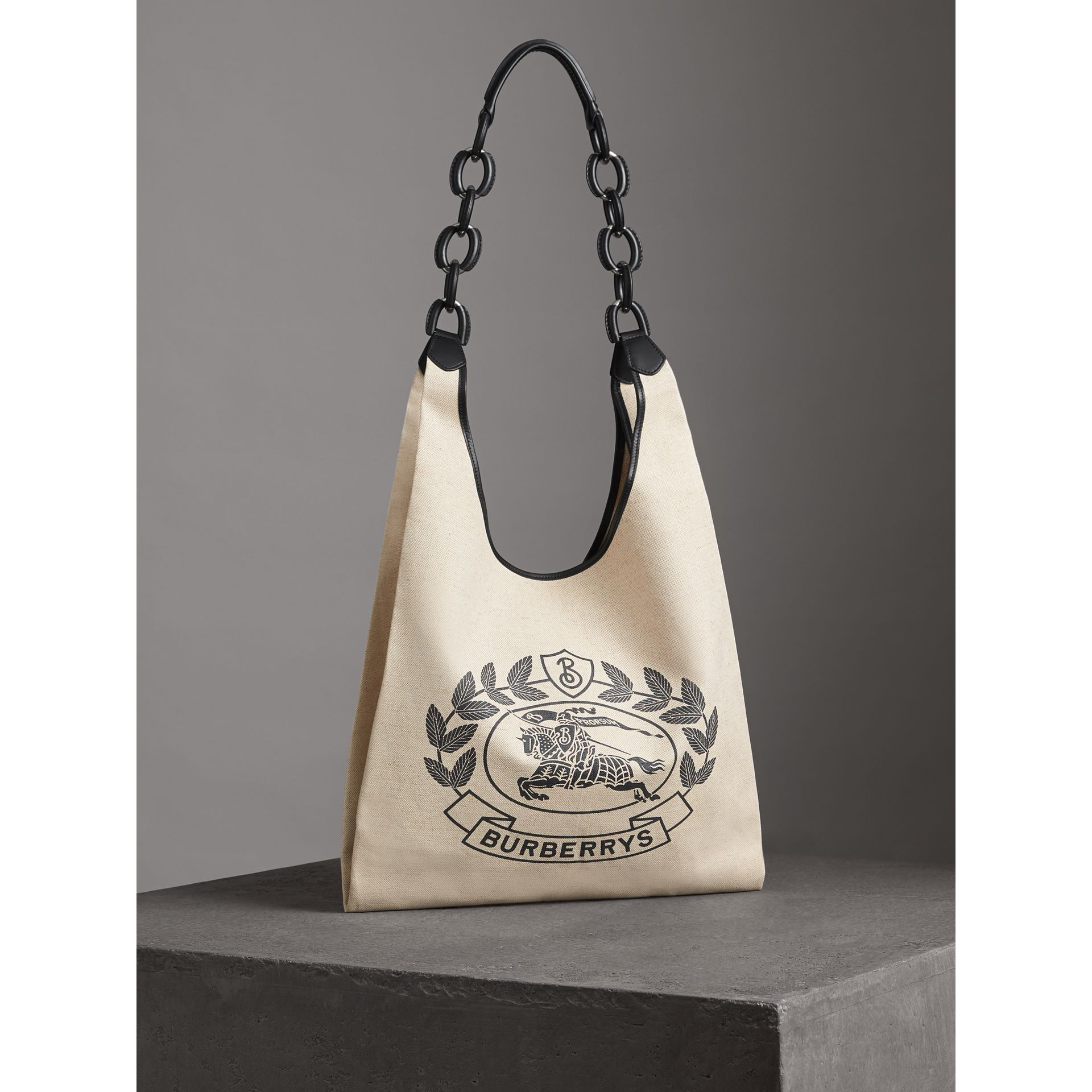 Medium Archive Logo Canvas and Leather Shopper in Black - Women | Burberry Canada - gallery image 4