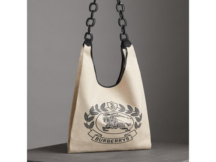 Medium Archive Logo Canvas and Leather Shopper in Black - Women | Burberry - cell image 4