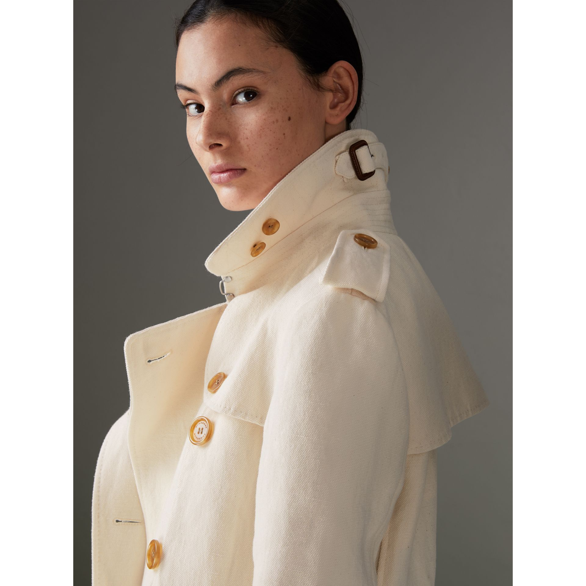 Cotton Linen Canvas Trench Coat in Off White - Women | Burberry - gallery image 1