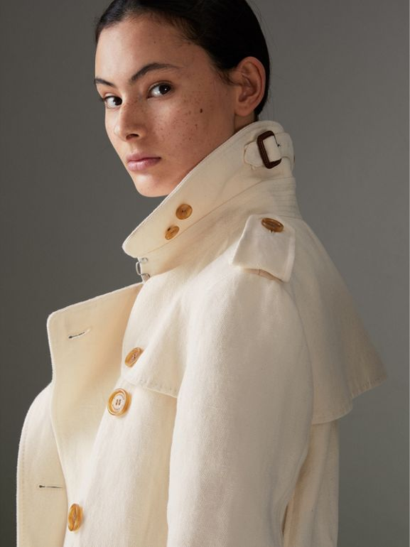 Cotton Linen Canvas Trench Coat in Off White - Women | Burberry - cell image 1