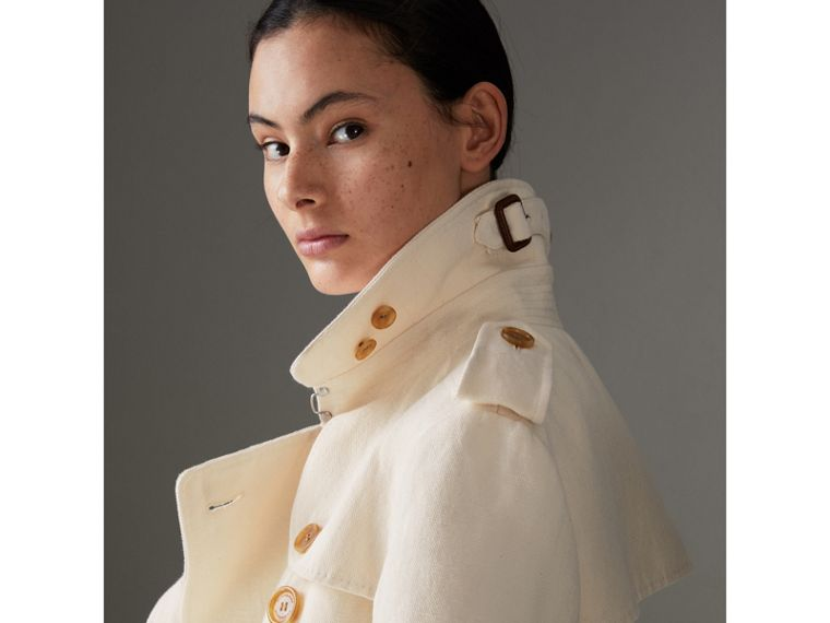 Trench coat in tela di cotone e lino (Bianco Sporco) - Donna | Burberry - cell image 1