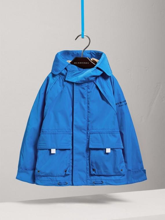 Jaqueta estilo militar de tafetá com capuz (Azul Azure) - Menino | Burberry - cell image 2
