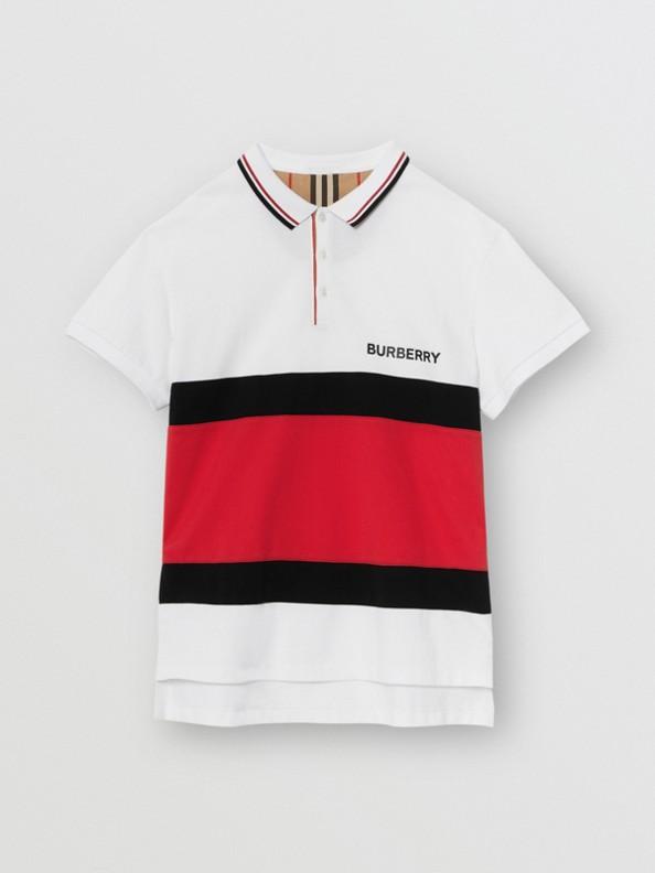 Stripe Panel Cotton Piqué Polo Shirt in White