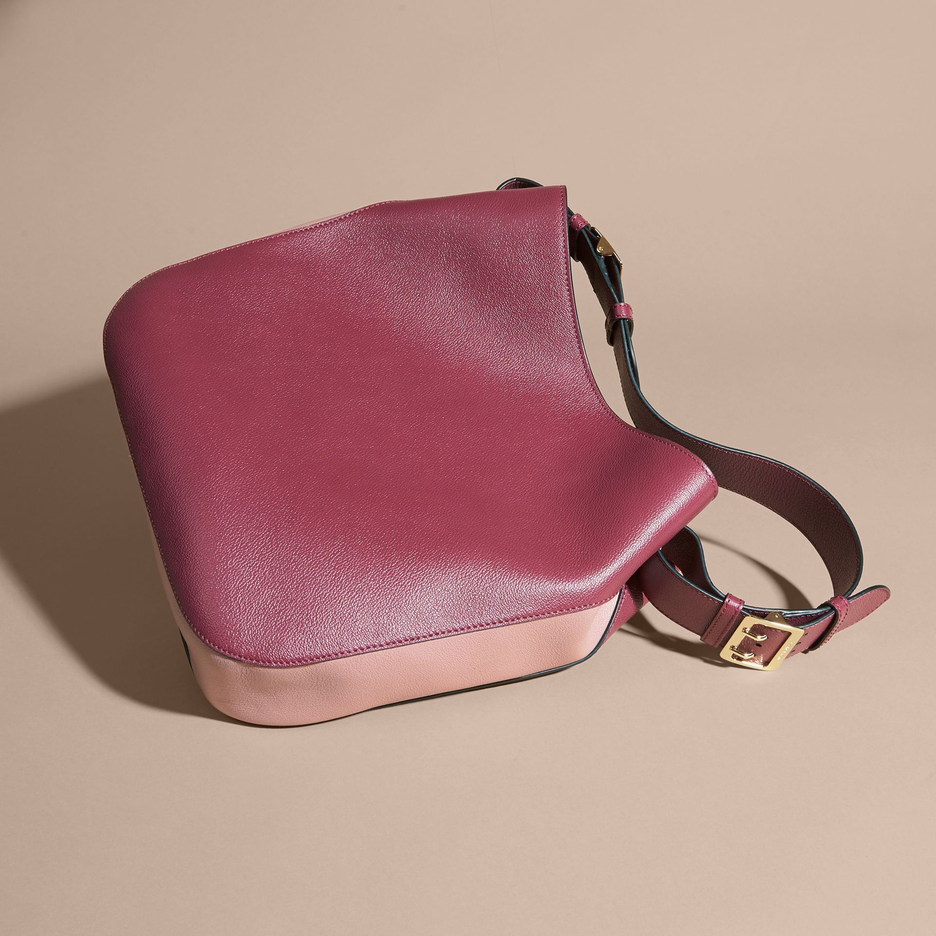 Textured Leather Shoulder Bag in Dark Plum/ Dusty Pink - gallery image 4