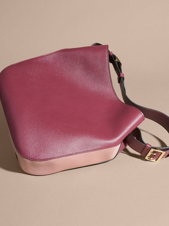 Textured Leather Shoulder Bag in Dark Plum/ Dusty Pink - cell image 3