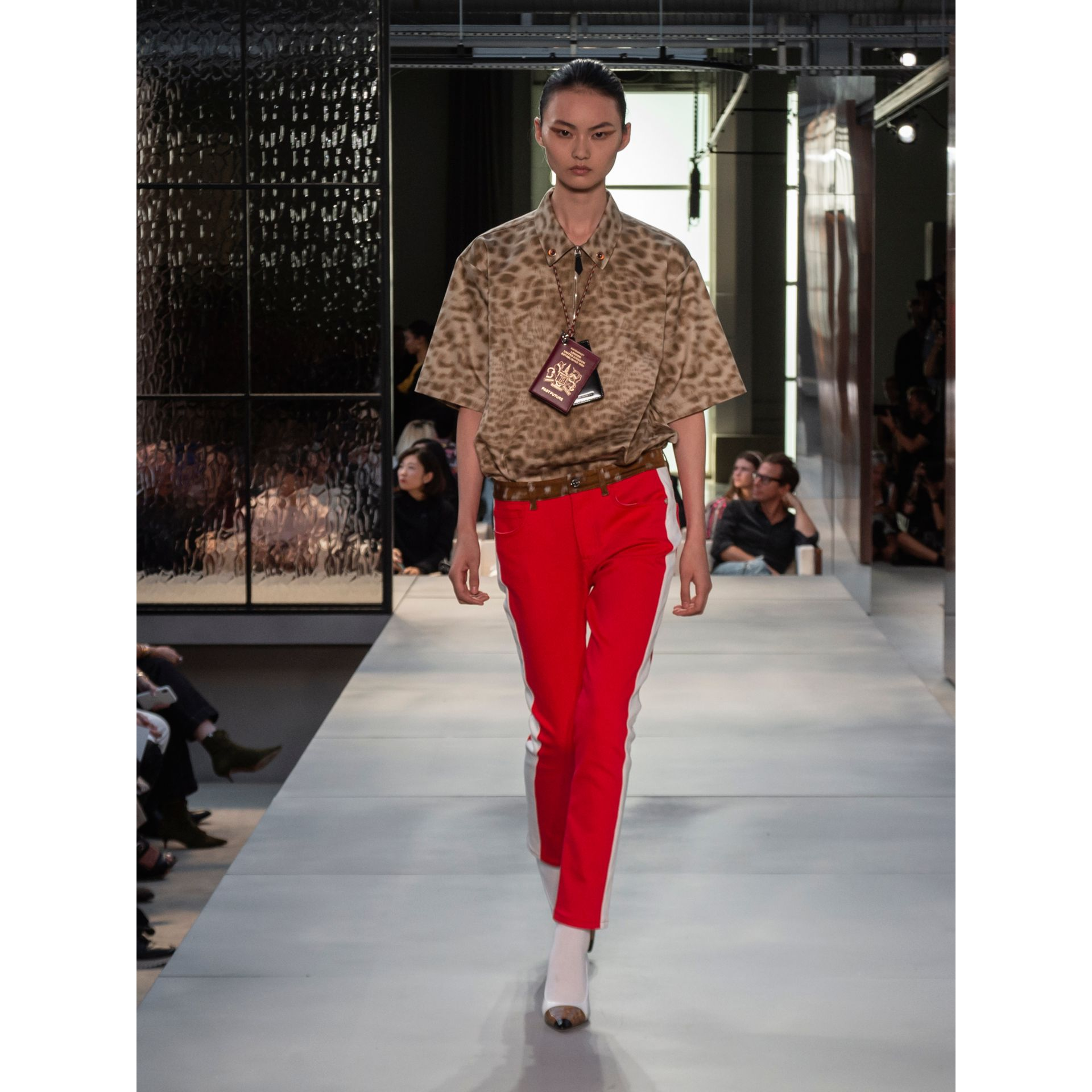 Straight Fit Deer Print Trim Japanese Denim Jeans in Bright Red - Women | Burberry United Kingdom - gallery image 6