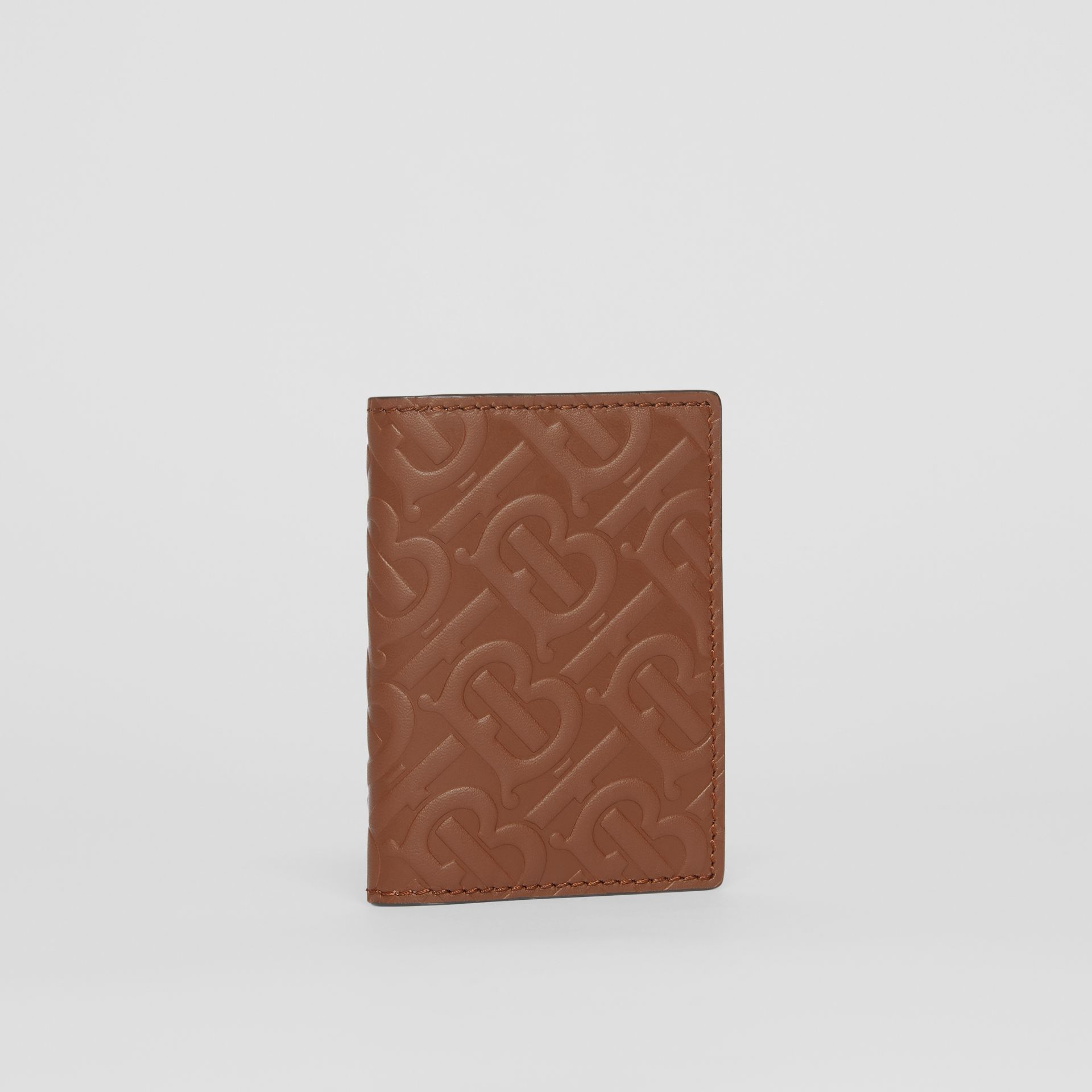 Monogram Leather Bifold Card Case in Dark Tan - Men | Burberry - gallery image 3
