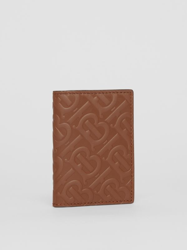 Monogram Leather Bifold Card Case in Dark Tan - Men | Burberry - cell image 3