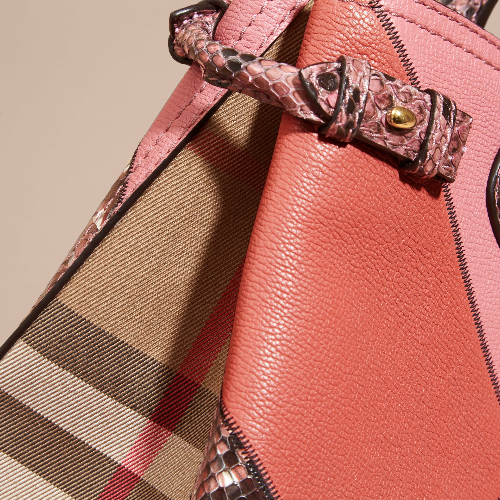The Medium Banner in Patchwork Leather and Python in Dusty Pink - Women | Burberry Hong Kong - gallery image 6