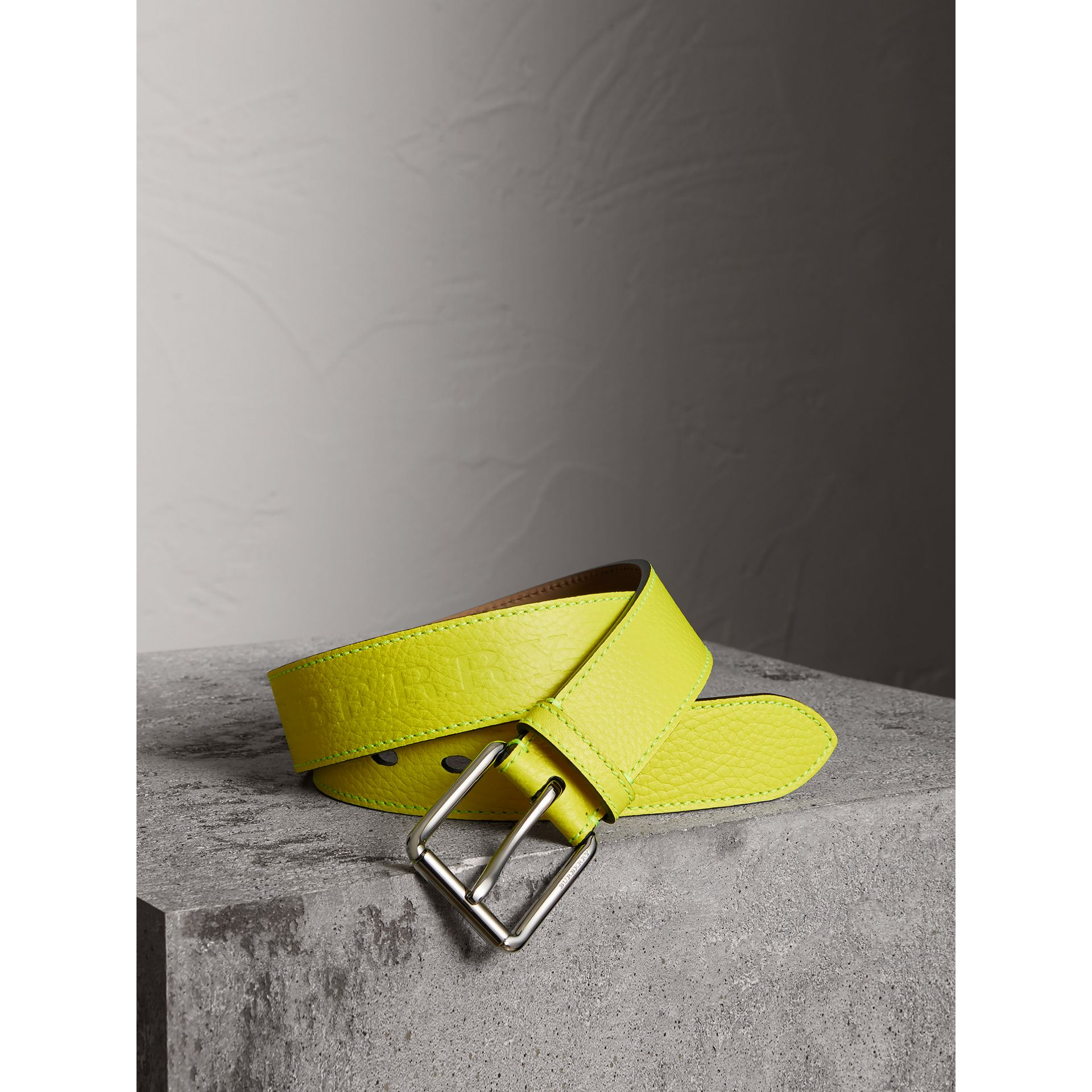 Embossed Grainy Leather Belt in Neon Yellow | Burberry - gallery image 0