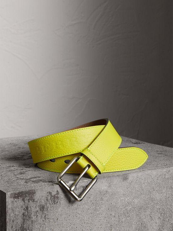 Embossed Grainy Leather Belt in Neon Yellow