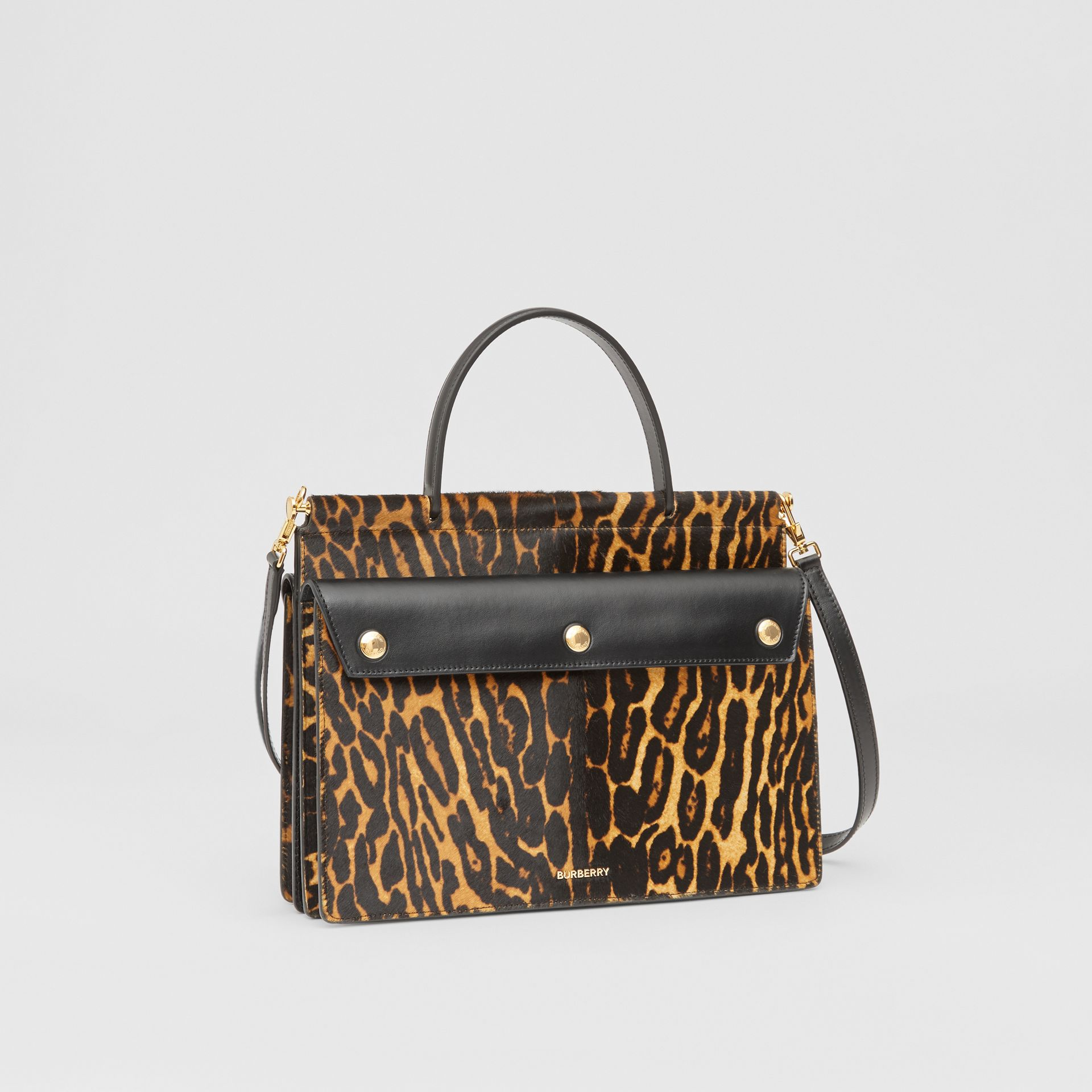 Small Leopard Print Title Bag with Pocket Detail in Black - Women | Burberry United Kingdom - gallery image 4