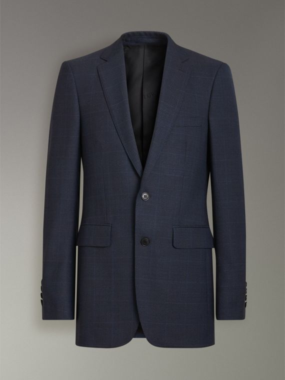 Modern Fit Check Wool Three-piece Suit in Bright Navy - Men | Burberry - cell image 3