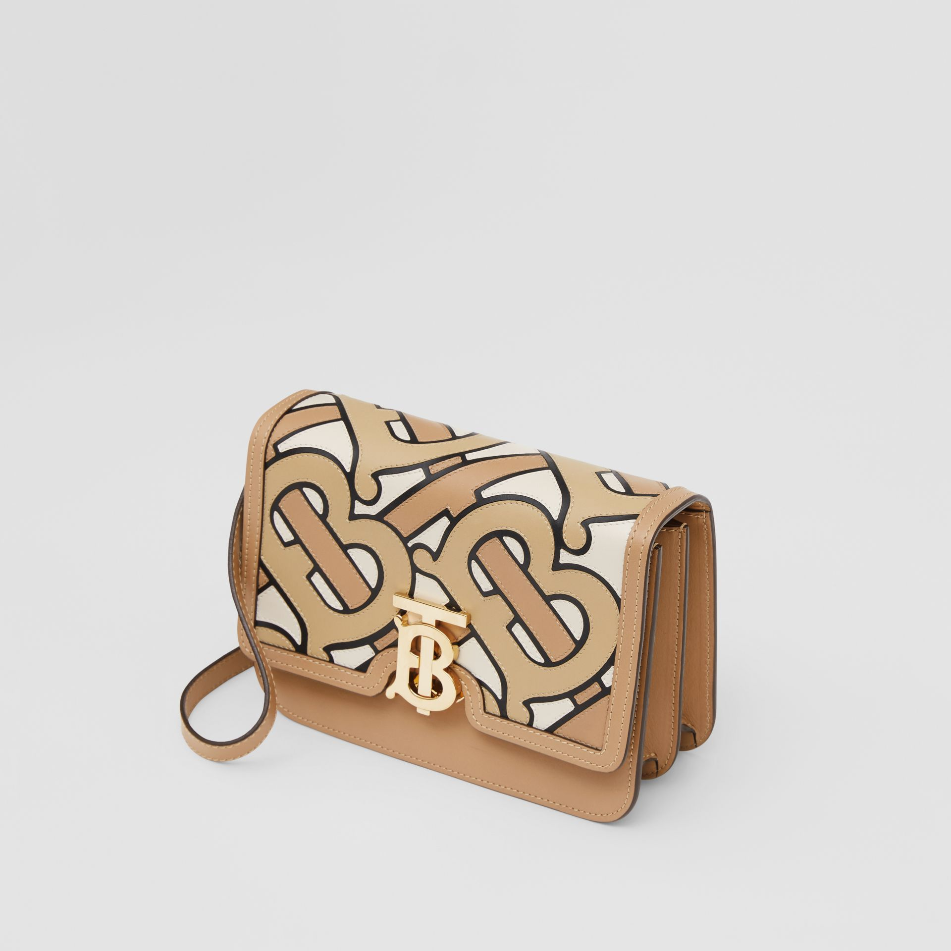 Small Monogram Intarsia Leather TB Bag in Beige - Women | Burberry United Kingdom - gallery image 3