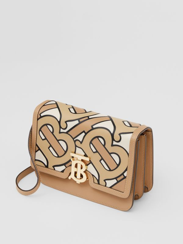 Small Monogram Intarsia Leather TB Bag in Beige - Women | Burberry - cell image 3