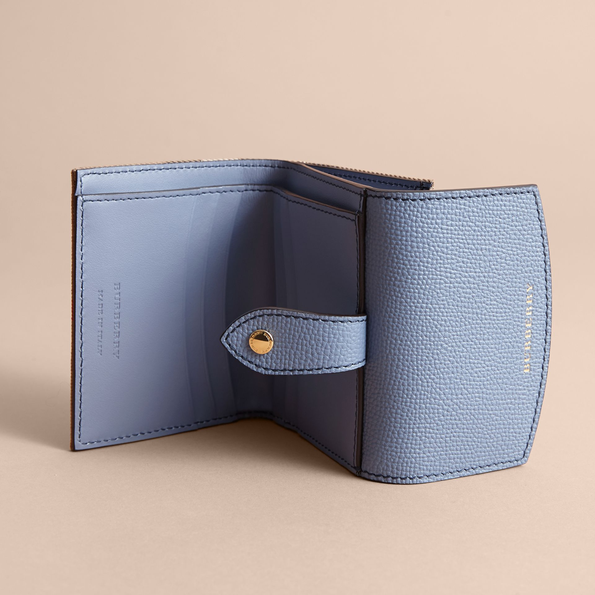 House Check and Leather Wallet in Slate Blue - Women | Burberry - gallery image 4
