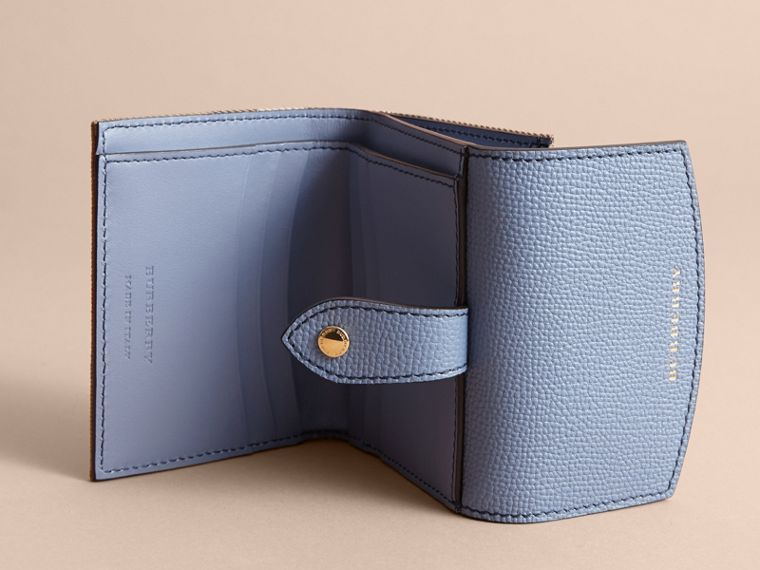 House Check and Leather Wallet in Slate Blue - Women | Burberry United Kingdom - cell image 4
