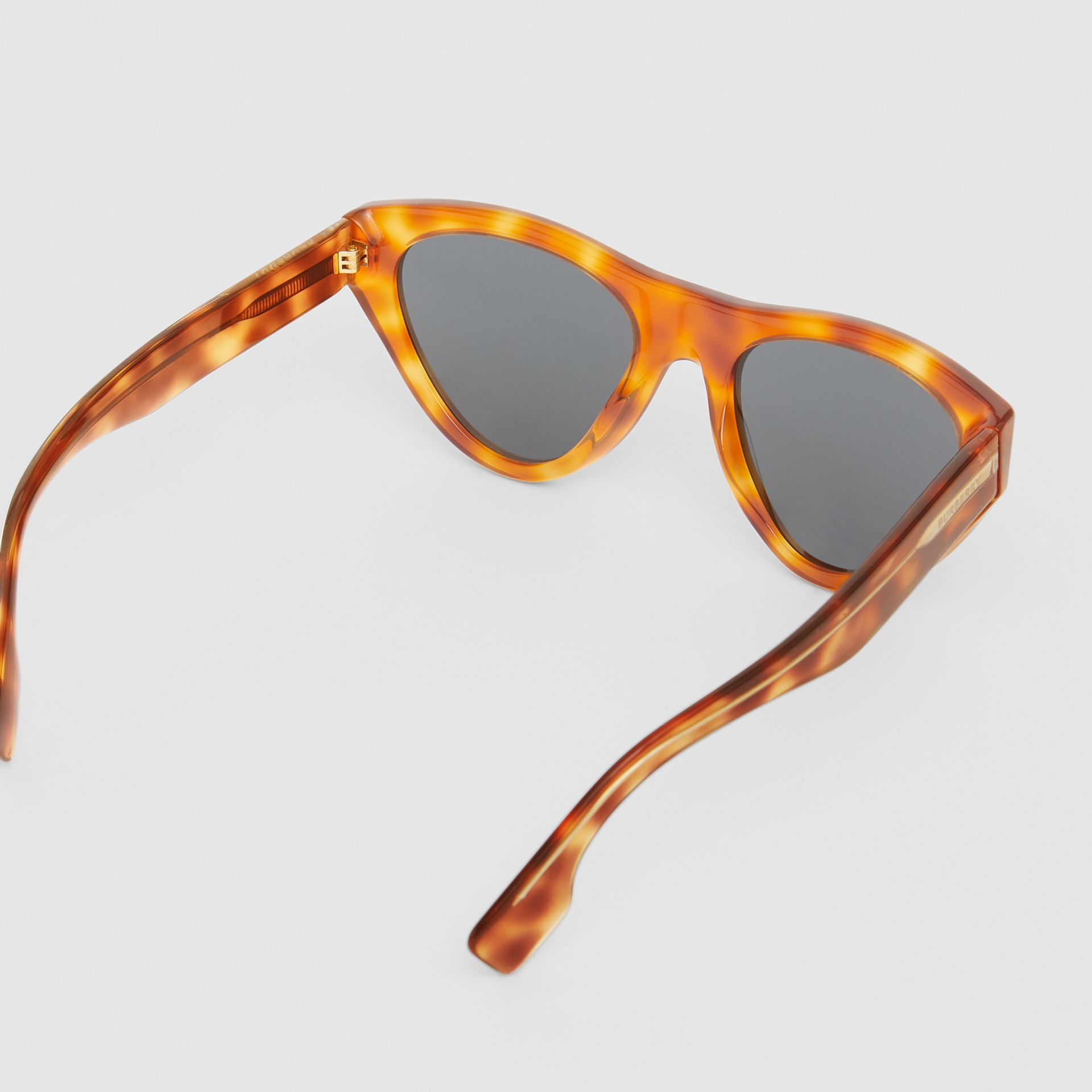 Triangular Frame Sunglasses in Amber Tortoiseshell - Women | Burberry - gallery image 4