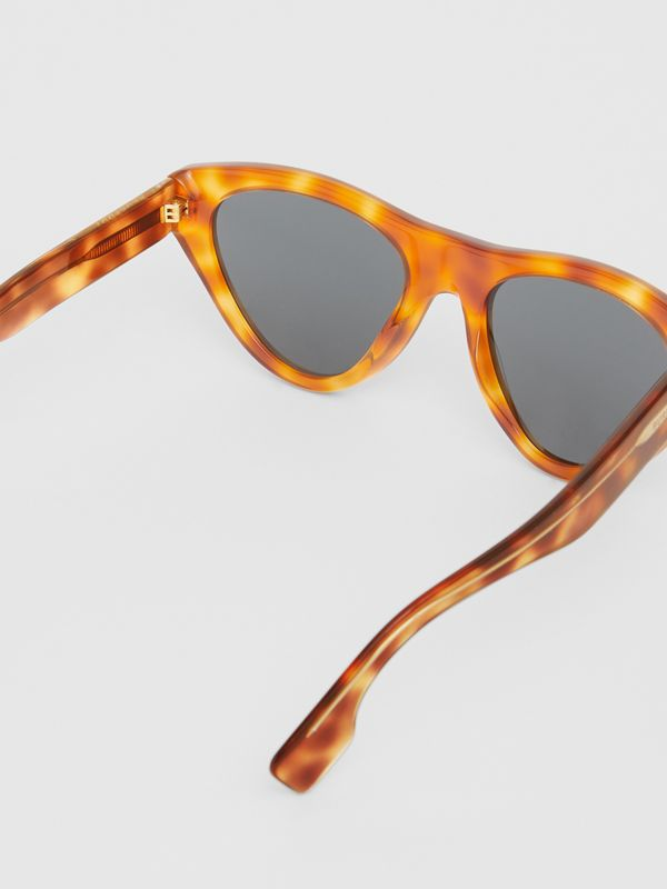Triangular Frame Sunglasses in Tortoise Amber - Women | Burberry - cell image 3