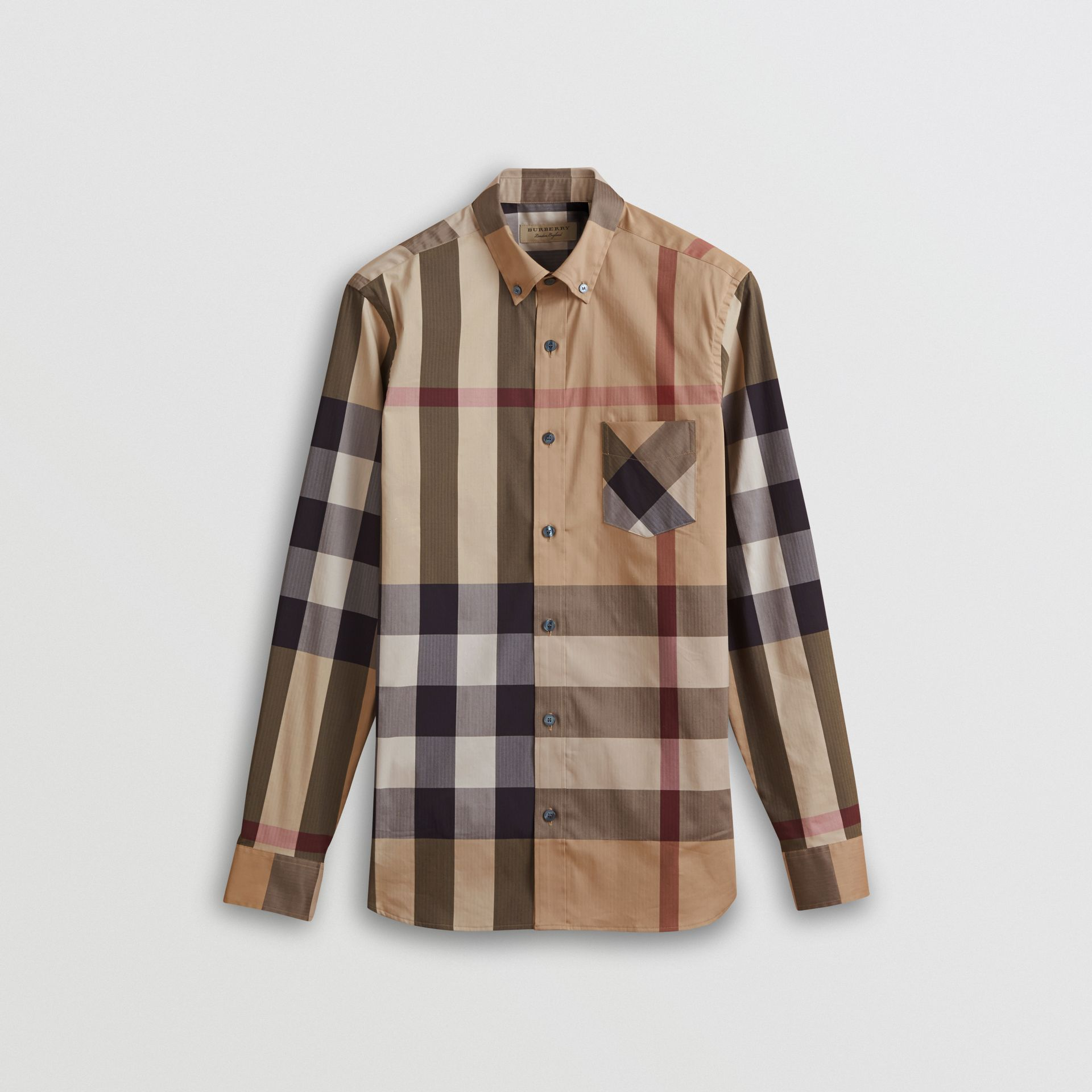 Button-down Collar Check Stretch Cotton Blend Shirt in Camel - Men | Burberry - gallery image 3