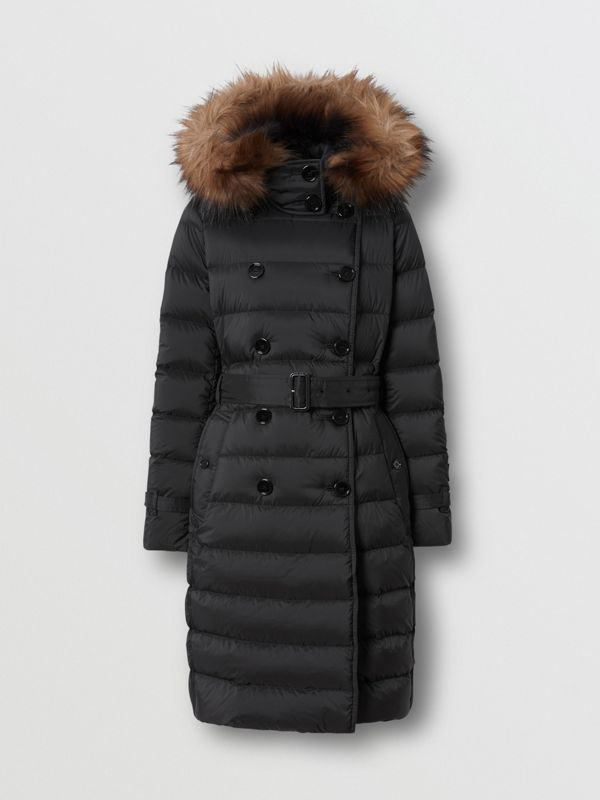 Detachable Hood Down-filled Coat in Black - Women | Burberry - cell image 3