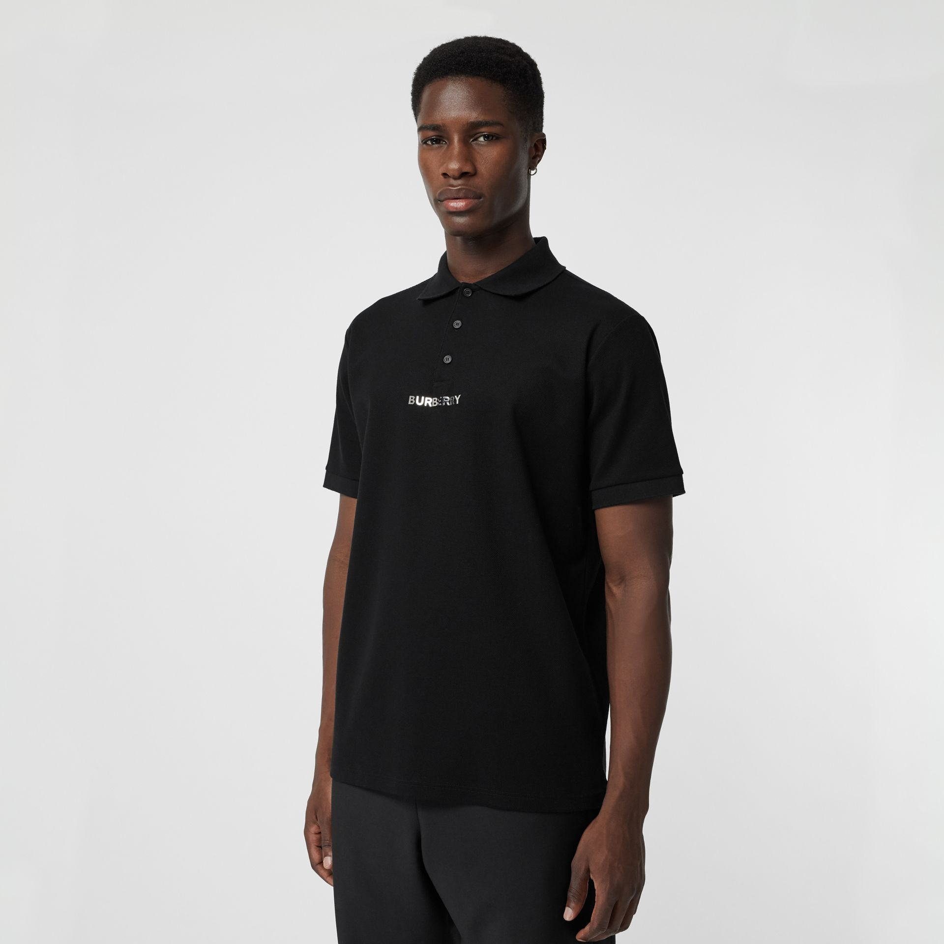 Embellished Logo Polo Shirt in Black - Men | Burberry - gallery image 0