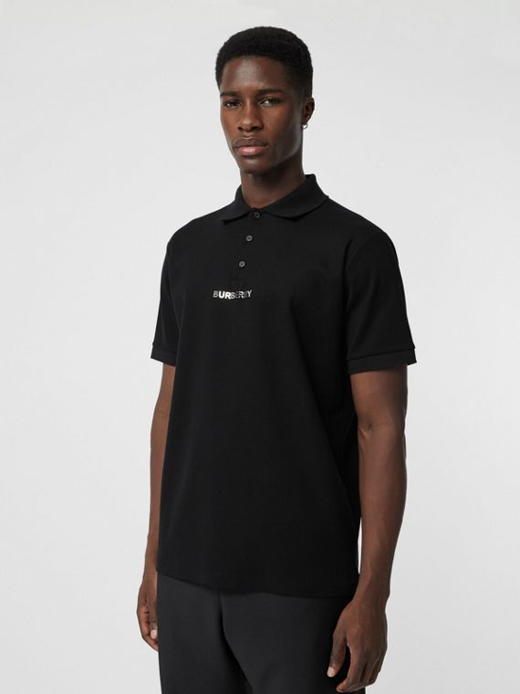 Embellished Logo Polo Shirt in Black