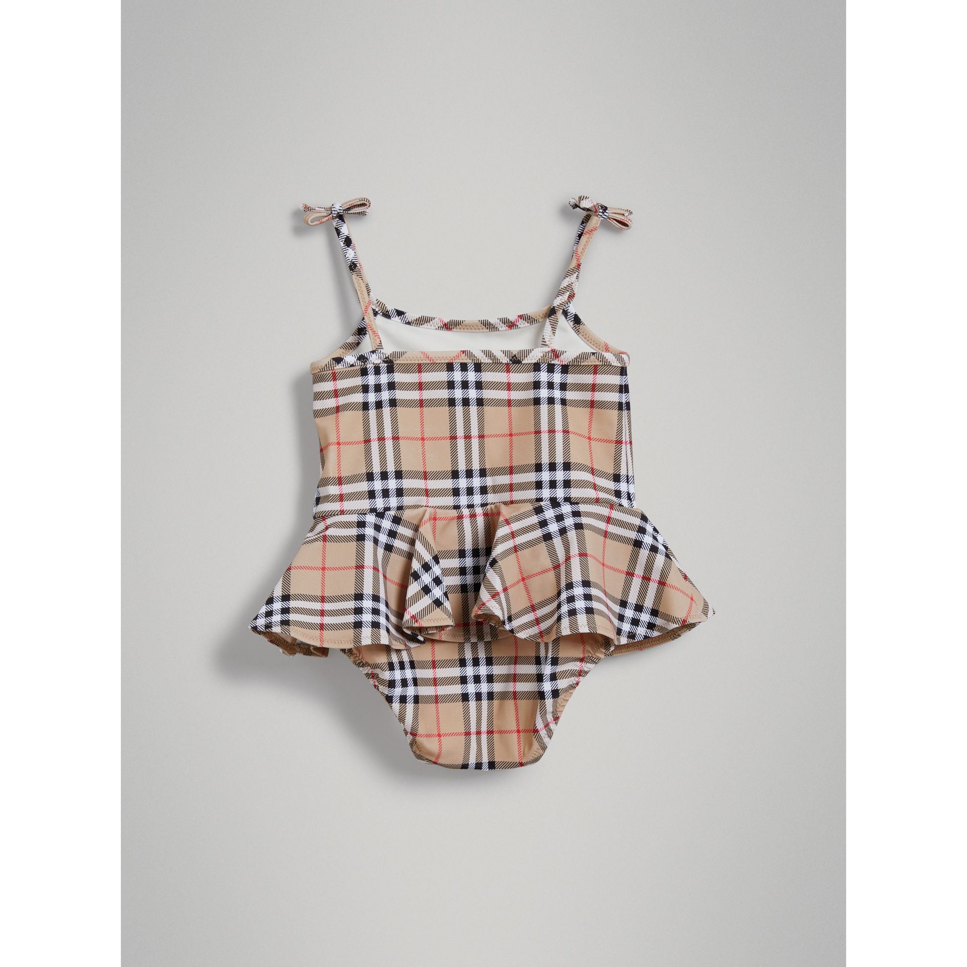 Ruffle Detail Vintage Check One-piece Swimsuit in Camel | Burberry - gallery image 3