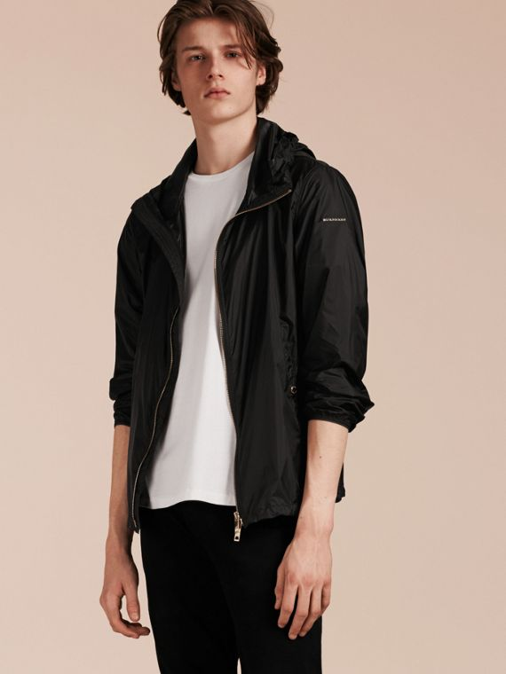 Hooded Super-lightweight Jacket in Black