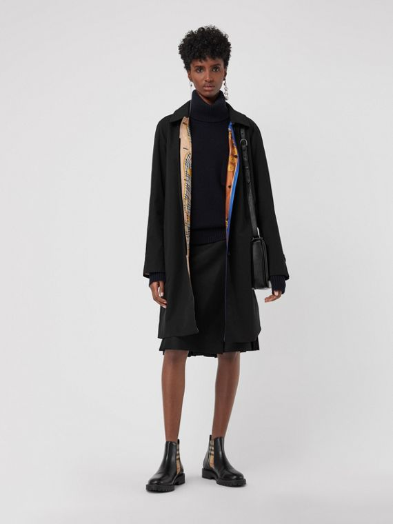 Archive Print-lined Tropical Gabardine Car Coat in Black