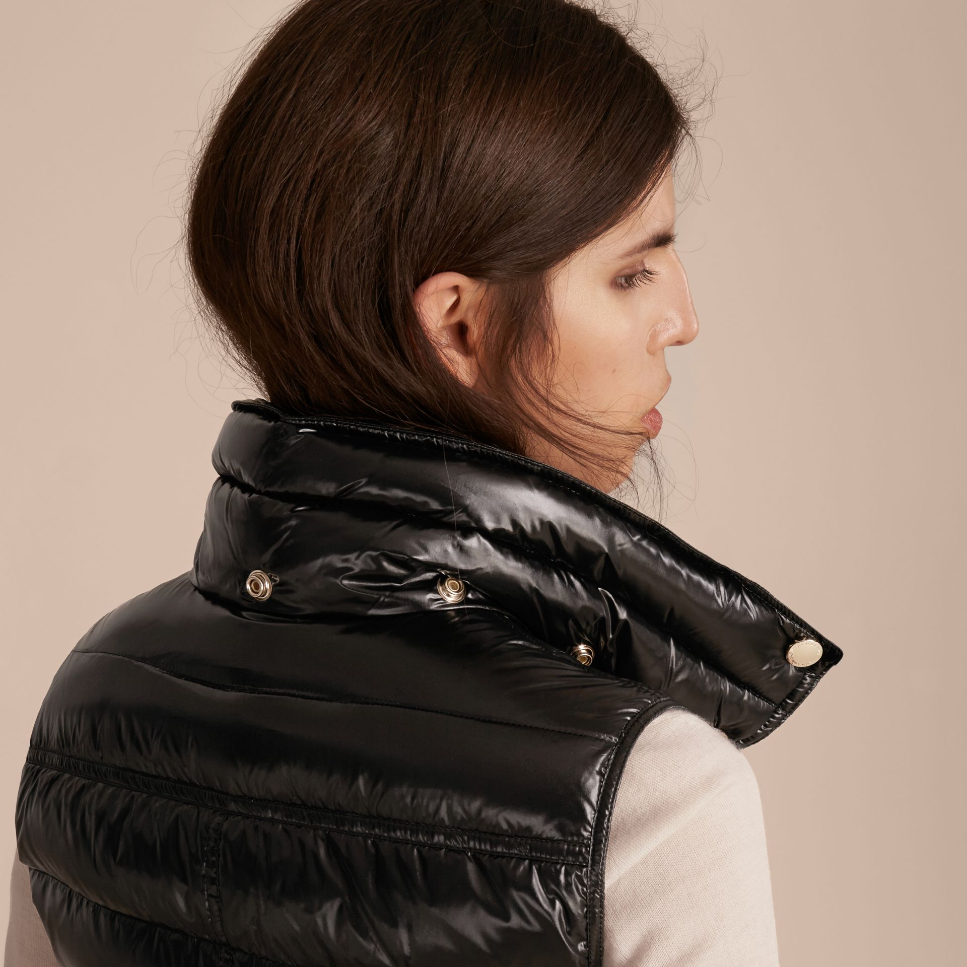 Black Down-filled Gilet with Detachable Fur-trimmed Hood - gallery image 6