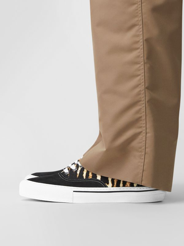 Leopard Print Nylon and Suede Sneakers in Black/honey - Men | Burberry Hong Kong - cell image 2
