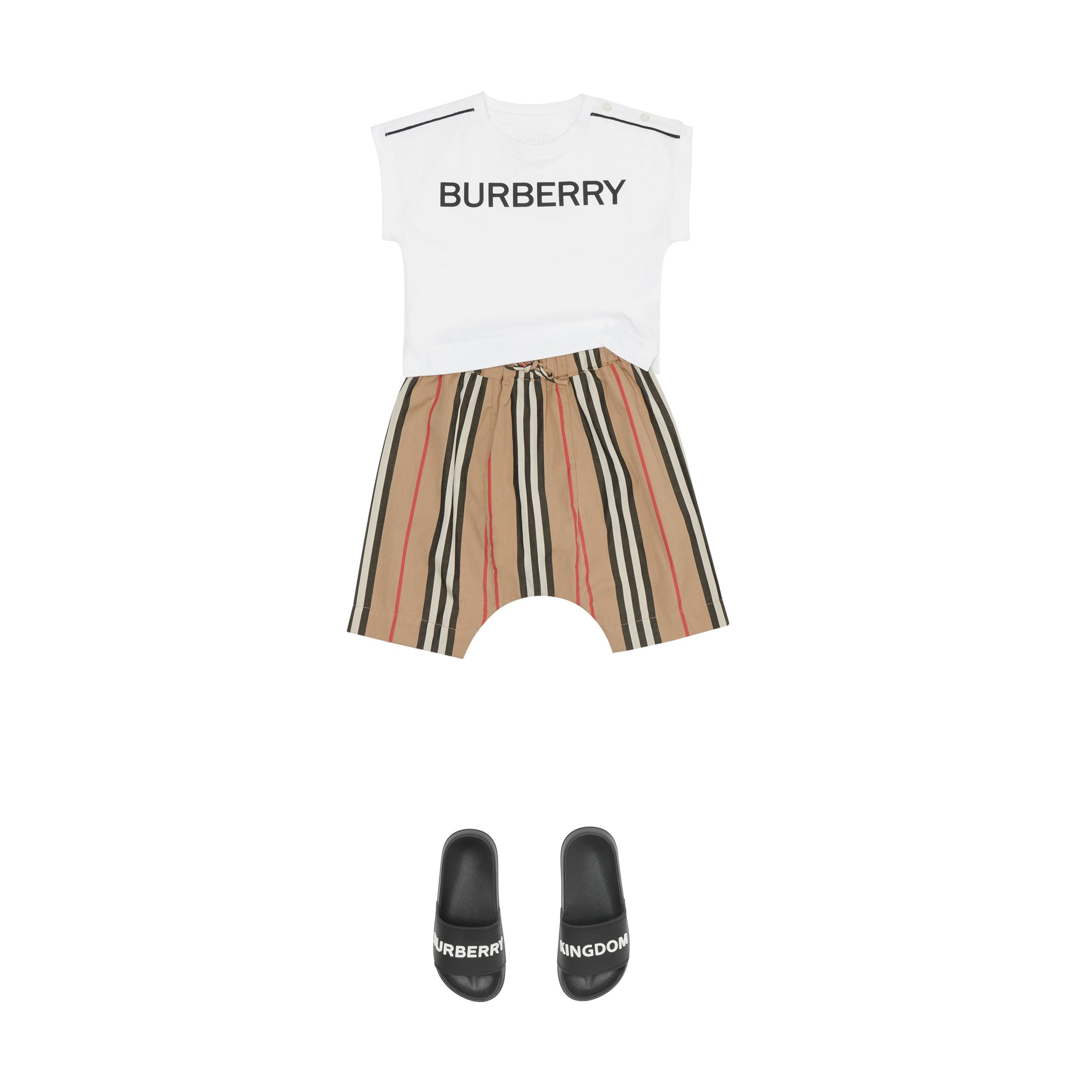 Icon Stripe Cotton Poplin Trousers in Archive Beige - Children | Burberry - 3