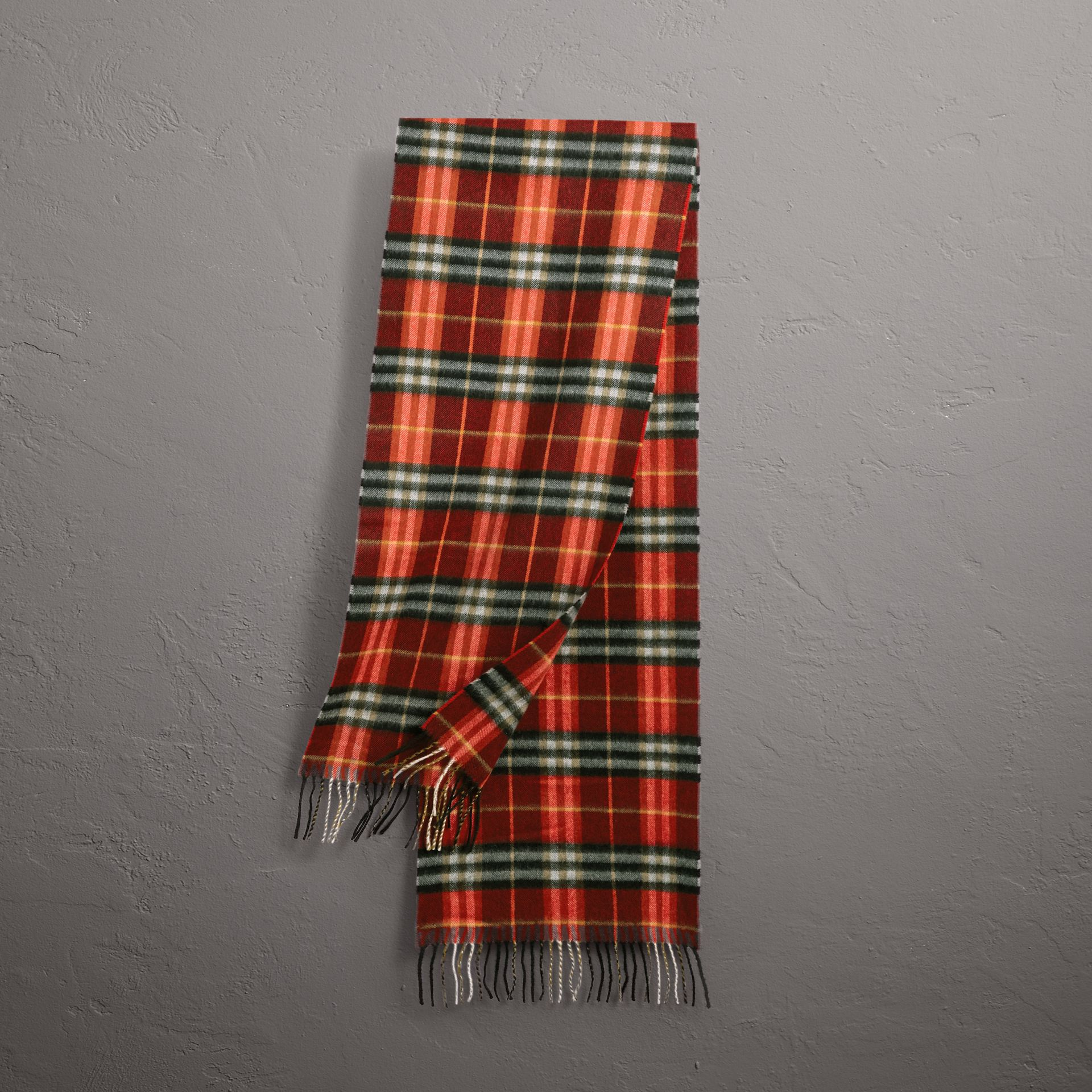 Check Cashmere Scarf in Orange Red | Burberry - gallery image 0