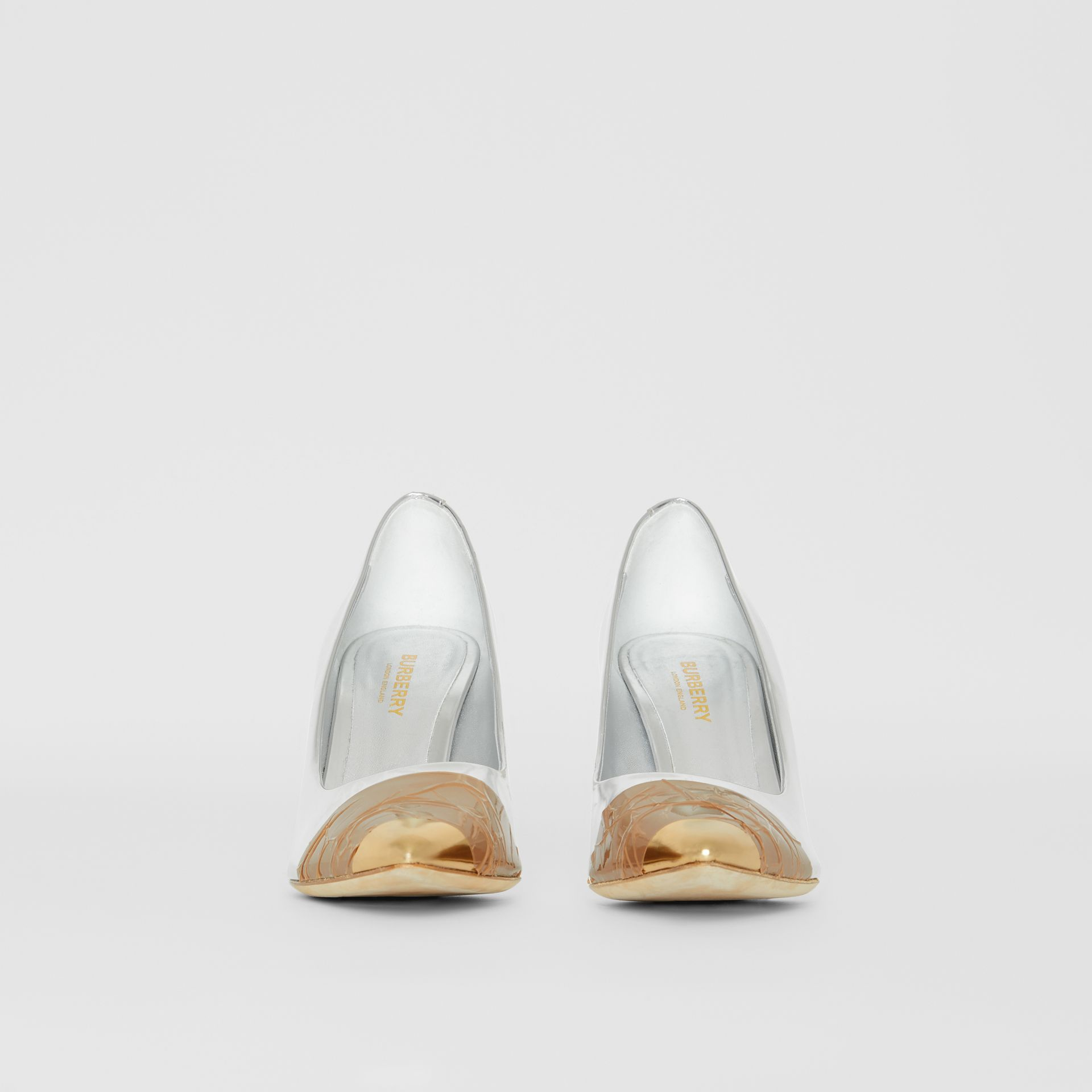 Tape Detail Mirrored Leather Pumps in Silver/gold - Women | Burberry - gallery image 3