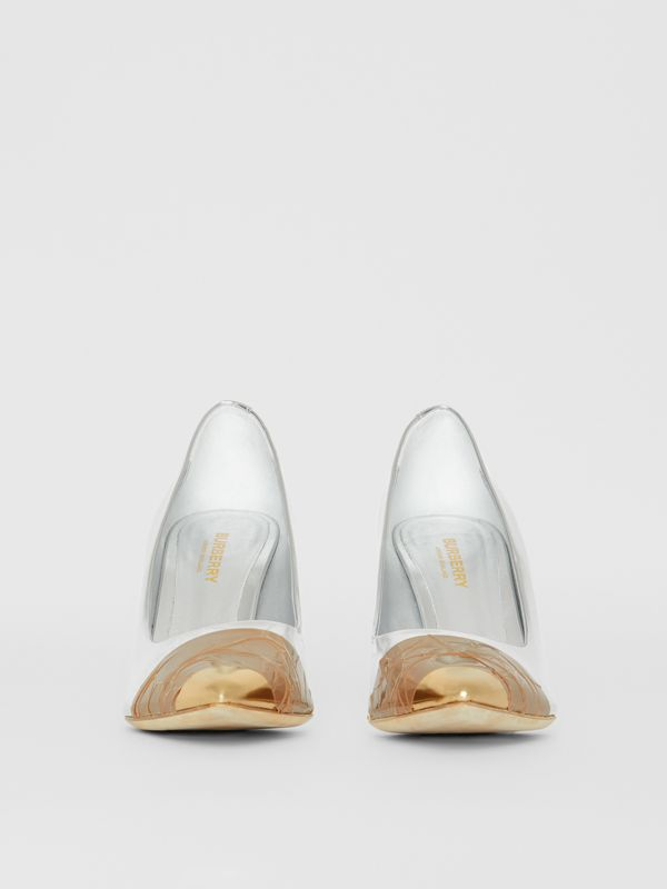 Tape Detail Mirrored Leather Pumps in Silver/gold - Women | Burberry - cell image 3