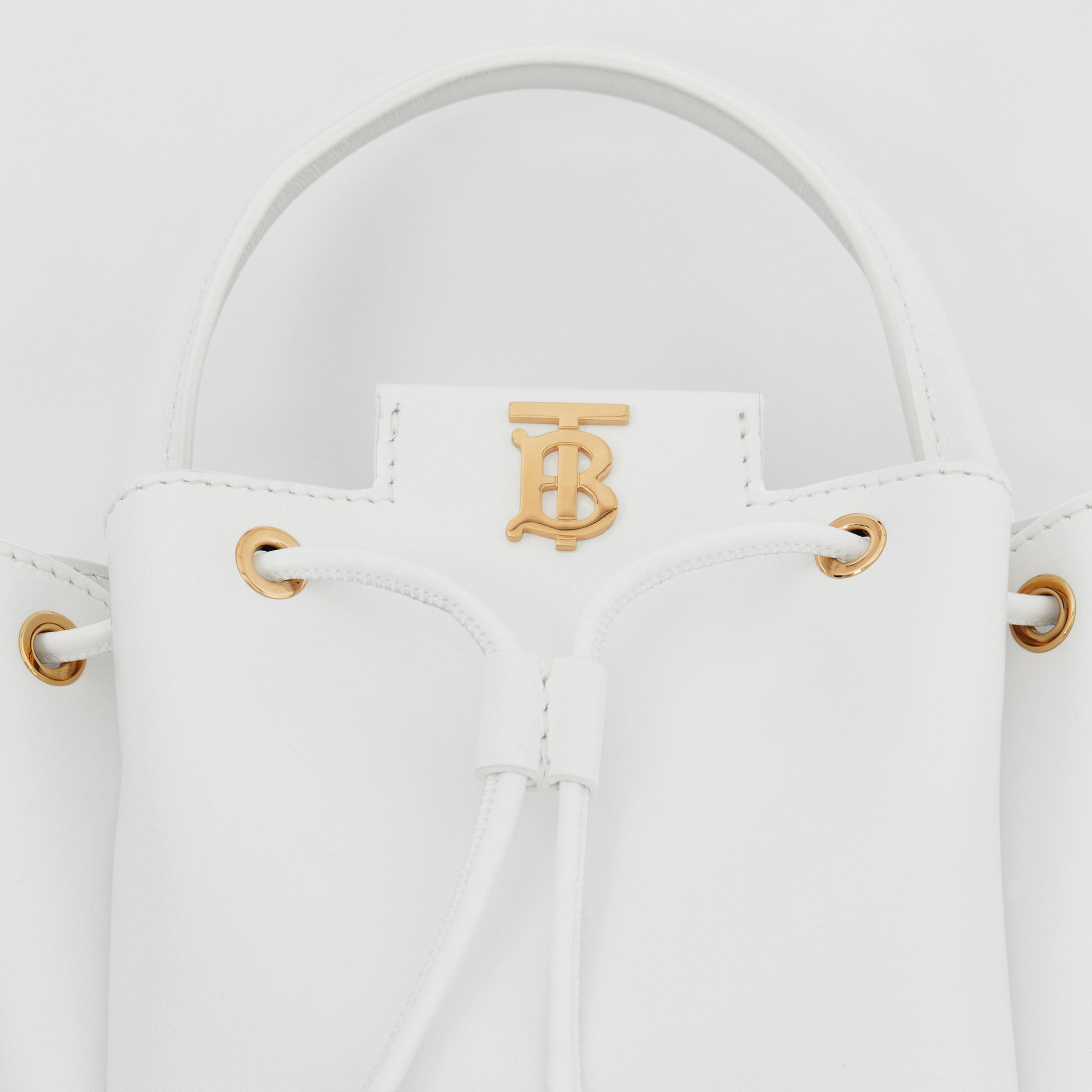 Monogram Motif Leather Bucket Bag in Optic White - Women | Burberry - 2