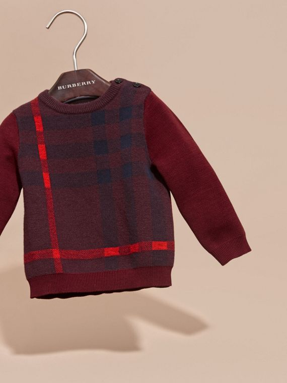 Deep claret Check Wool Cashmere Blend Sweater Deep Claret - cell image 2
