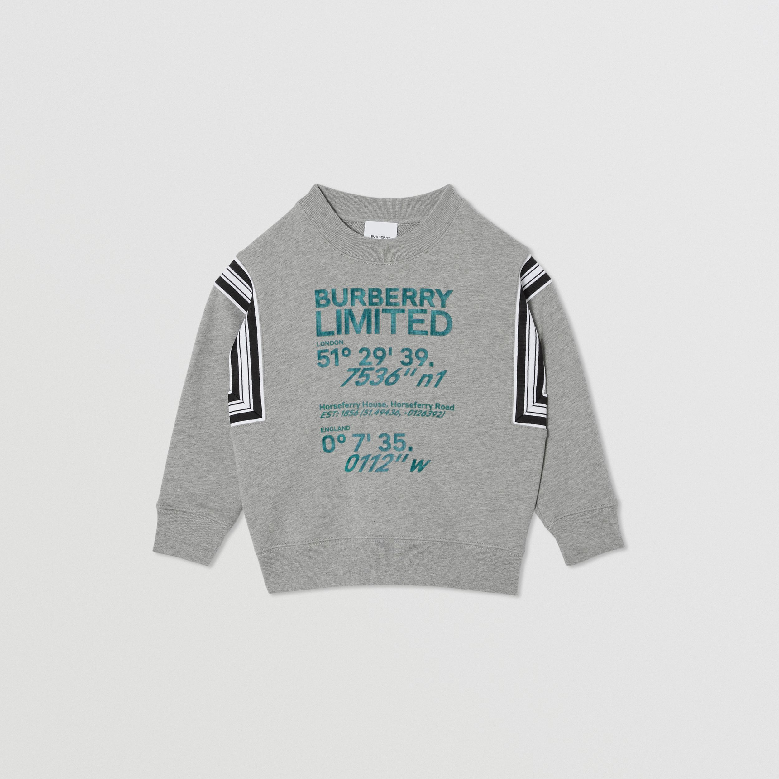 Coordinates Print Cotton Sweatshirt in Grey Melange | Burberry - 1