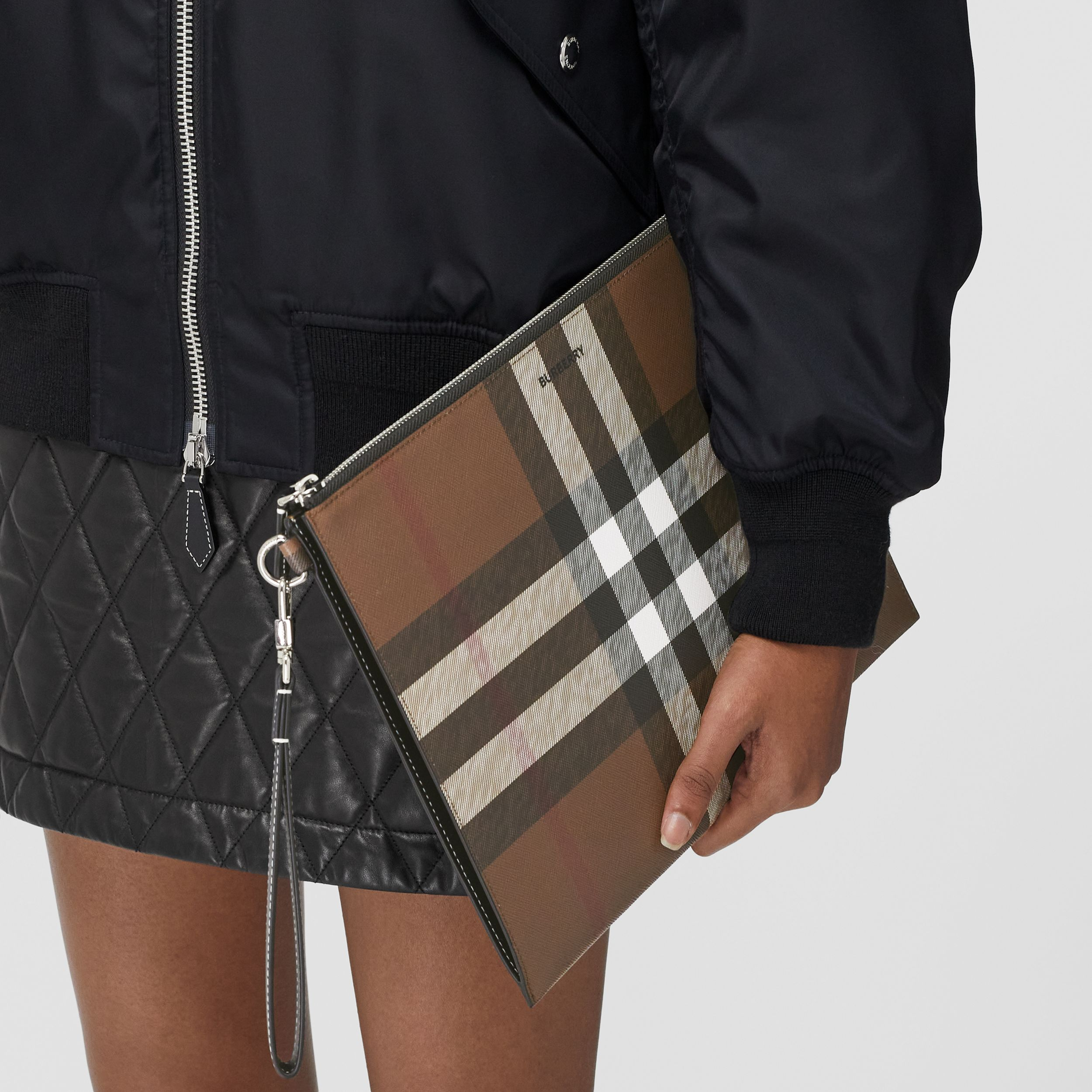 Large Check E-canvas Zip Pouch in Dark Birch Brown | Burberry - 3