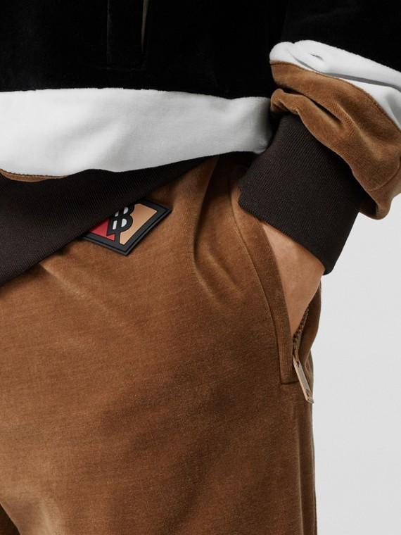 Logo Graphic Striped Chenille Trackpants in Dark Walnut