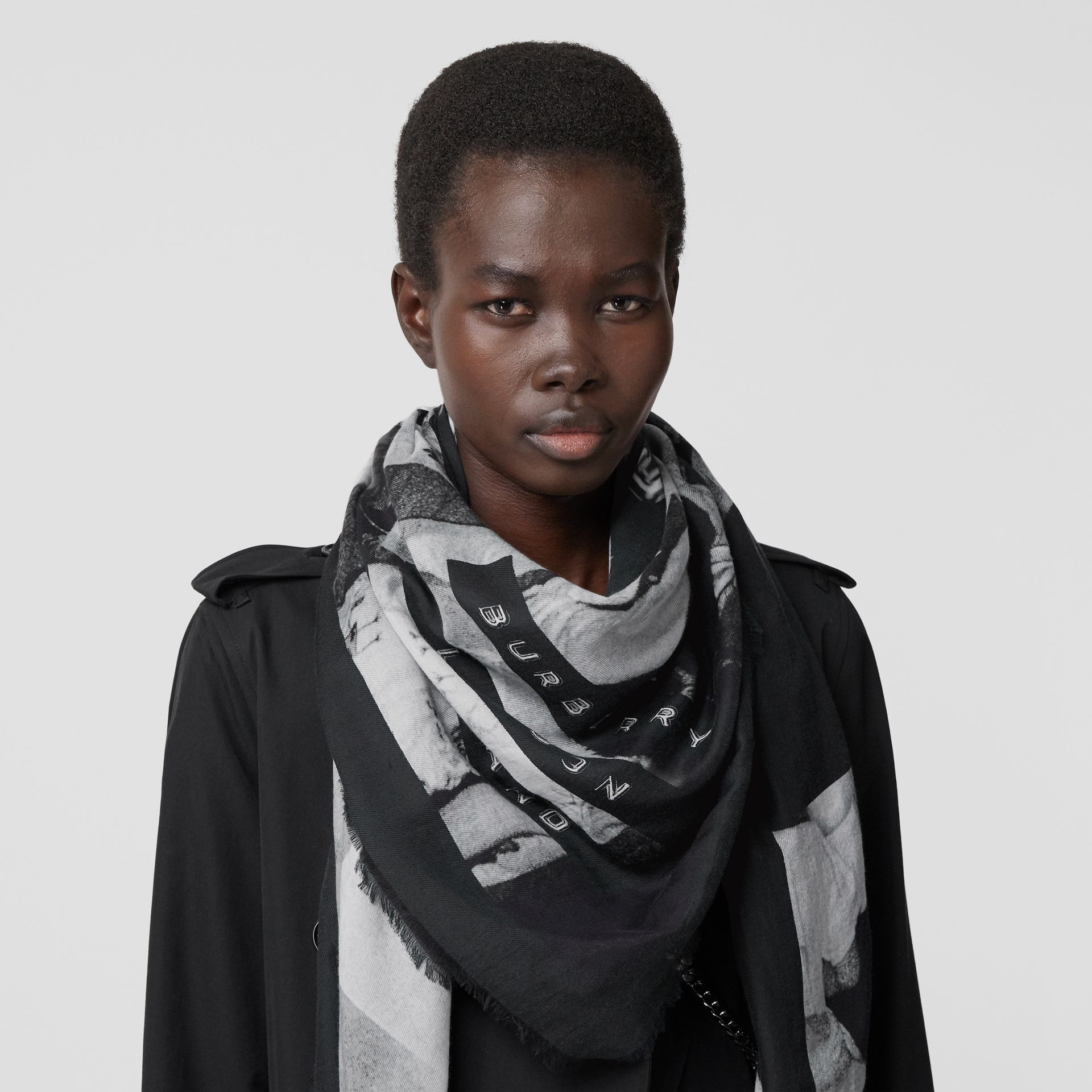 Rave Print Cotton Silk Large Square Scarf in Black | Burberry - gallery image 2