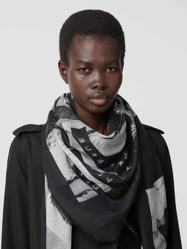 Rave Print Cotton Silk Large Square Scarf in Black | Burberry - cell image 2