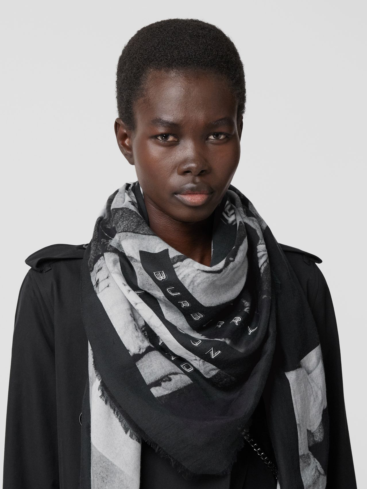 Rave Print Cotton Silk Large Square Scarf in Black