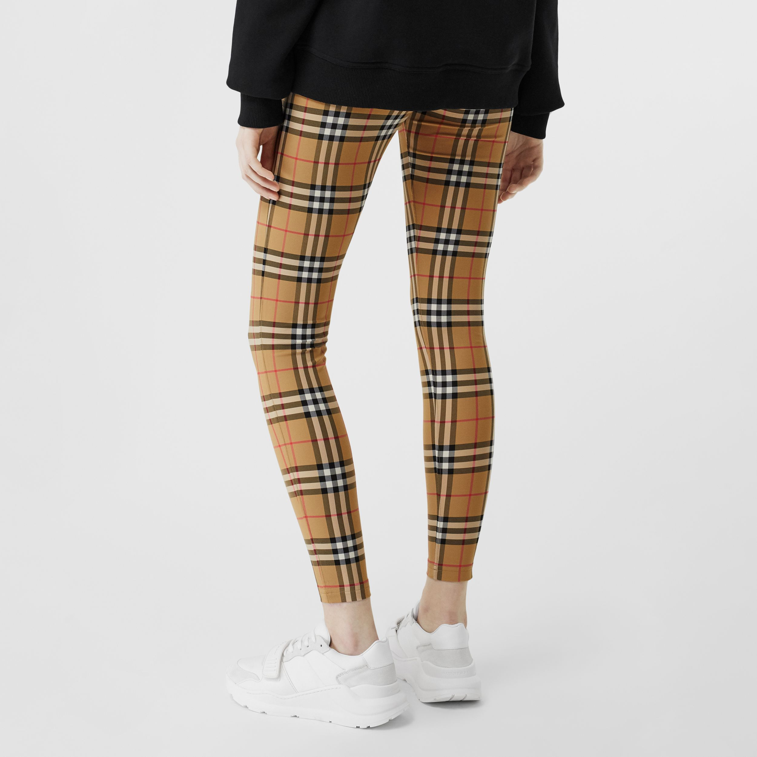 Logo Detail Vintage Check Leggings in Antique Yellow - Women | Burberry - 3